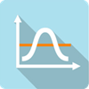 Maximum and minimum demand icon depicted by a white bell curve on a light blue square