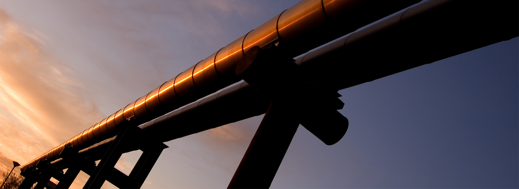 Gas pipeline at dusk