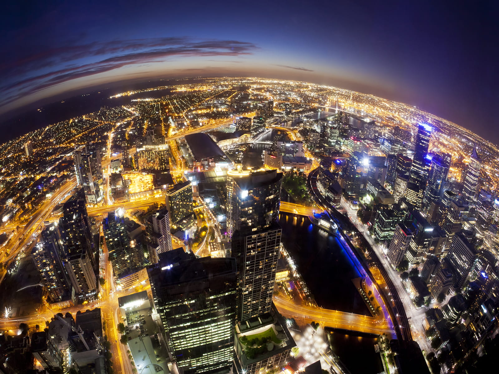 Melbourne at night, fisheye view of city lights